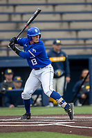 Indiana State Sycamores catcher Spencer Wiskus (13) at bat against the Michigan Wolverines on April 10, 2019 in the NCAA baseball game at Ray Fisher Stadium in Ann Arbor, Michigan. Michigan defeated Indiana State 6-4. (Andrew Woolley/Four Seam Images)