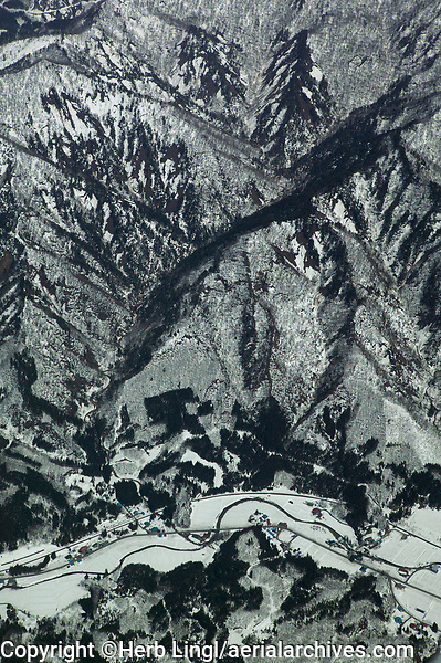 aerial photograph of the Ou mountains in Tohoki, northern Honshu, Japan in winter