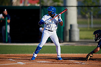 Dunedin Blue Jays Chavez Young (2) during a Florida State League game against the Lakeland Flying Tigers on April 18, 2019 at Jack Russell Memorial Stadium in Clearwater, Florida.  Dunedin defeated Lakeland 6-2.  (Mike Janes/Four Seam Images)