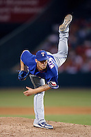 C.J. Wilson of the Texas Rangers during a game against the Los Angeles Angels in a 2007 MLB season game at Angel Stadium in Anaheim, California. (Larry Goren/Four Seam Images)