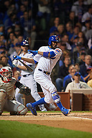 Chicago Cubs Dexter Fowler (24) bats in the first inning during Game 3 of the Major League Baseball World Series against the Cleveland Indians on October 28, 2016 at Wrigley Field in Chicago, Illinois.  (Mike Janes/Four Seam Images)