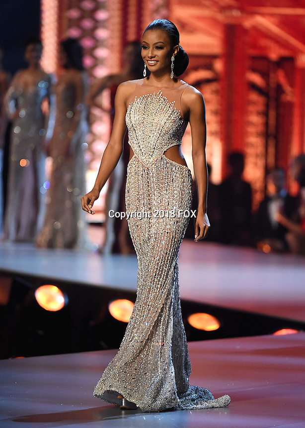 BANGKOK, THAILAND - DECEMBER 17:  Miss Curacao Akisha Albert onstage on the 2018 MISS UNIVERSE competition at the Impact Arena in Bangkok, Thailand on December 17, 2018. (Photo by Frank Micelotta/FOX/PictureGroup)