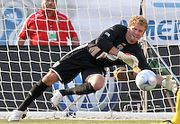 William Hesmer attempting to block Javier Morales' goal in the 4th minute of the 2-0  Real Salt Lake win at Rice Eccles Stadium  in Salt Lake City, Utah on  July 12, 2008.