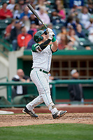 Fort Wayne TinCaps Hansel Rodriguez (25) follows through on a swing during a game against the Wisconsin Timber Rattlers on May 10, 2017 at Parkview Field in Fort Wayne, Indiana.  Fort Wayne defeated Wisconsin 3-2.  (Mike Janes/Four Seam Images)