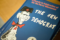 """Detail view of a Dr. Seuess-inspired conservative parody of President Barack Obama called """"The New Democrat"""" by self-described """"conservative activist"""" Loren A. Spivack.  Spivack sold copies of the book for $20 at a Romney town hall campaign event at McKelvie Intermediate School in Bedford, New Hampshire, on Jan. 9, 2012.  Romney is seeking the 2012 Republican presidential nomination."""