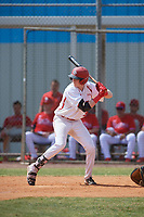 Canada Junior National Team Owen Caissie (38) bats during an exhibition game against the Philadelphia Phillies on March 11, 2020 at Baseball City in St. Petersburg, Florida.  (Mike Janes/Four Seam Images)