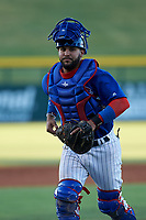 AZL Cubs 1 catcher Richard Nunez (5) during an Arizona League game against the AZL Athletics Gold at Sloan Park on June 20, 2019 in Mesa, Arizona. AZL Athletics Gold defeated AZL Cubs 1 21-3. (Zachary Lucy/Four Seam Images)