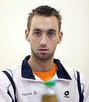 02-03-11, Tennis, Oekraine, Charkov, Daviscup, Oekraine - Netherlands, Debutant Thomas Schoorel