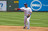 Round Rock Express second baseman Yangervis Solarte (26) makes a throw to first base against the Colorado Springs Sky Sox in the Pacific Coast League baseball game on May 19, 2013 at the Dell Diamond in Round Rock, Texas. Colorado Springs defeated Round Rock 3-1 in 10 innings. (Andrew Woolley/Four Seam Images).