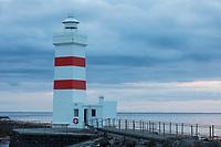 Leuchtturm, alter Leuchtturm Garðskagi, Gardskagi, Gardur, Garðskagaviti, an der Nordspitze der Halbinsel Reykjanes, Island. The old lighthouse in Garður at Reykjanes Peninsula Iceland