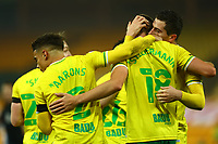 7th November 2020; Carrow Road, Norwich, Norfolk, England, English Football League Championship Football, Norwich versus Swansea City; Kenny McLean of Norwich City celebrates with Marco Stiepermann after Stieperman scores for 1-0