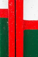 """France, Aquitaine, Pyrénées-Atlantiques, Pays Basque,   Saint-Jean-de-Luz: départ   du Thonier Canneur """"Aïrosa""""  pour la pêche au thon à la canne,  détail du bateau  //  France, Pyrenees Atlantiques, Basque Country:  departure Line tuna vessel """"Airosa"""" for tuna fishing cane,  boat retail"""