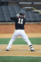 Jonathan Pryor (11) of the Wake Forest Demon Deacons at bat against the Towson Tigers at Wake Forest Baseball Park on March 1, 2015 in Winston-Salem, North Carolina.  The Demon Deacons defeated the Tigers 15-8.  (Brian Westerholt/Four Seam Images)