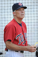 Elizabethton Twins manager  Ray Smith #2  during a game against the Bristol White Sox at Joe O'Brien Field on June 25, 2012 in Elizabethton, Tennessee. The Twins defeated the White Sox 9-1. (Tony Farlow/Four Seam Images).