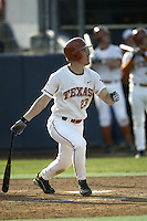 Dustin Majewski of the Texas Longhorns bats during a game against the Tulane Green Wave at Goodwin Field on March 2, 2003 in Fullerton, California. (Larry Goren/Four Seam Images)