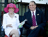 Marylou Whitney and John Hendrikson in the winner's circle prior to the Whitney.