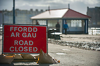 Aberystwyth, Wales, UK. Tuesday 09 February 2016<br />Pictured: A road closed sign on the coastal road.<br />Re: The clean up begins in Aberystwyth, west Wales after storm Imogen hit parts of the UK.