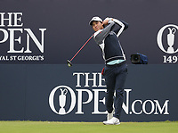 14th July 2021; The Royal St. George's Golf Club, Sandwich, Kent, England; The 149th Open Golf Championship, practice day; Min Woo Lee (AUS) hirs his driver from the tee at the 1st hole