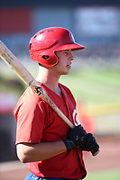 Riley Adams (17) of the Vancouver Canadians before a game against the Salem-Keizer Volcanoes at Volcanoes Stadium on July 24, 2017 in Keizer, Oregon. Salem-Keizer defeated Vancouver, 4-3. (Larry Goren/Four Seam Images)