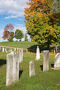 Arch Hill Cemetery in Northfield, New Hampshire USA during the autumn months.