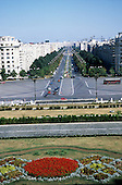 Bucharest, Romania. High view of Unirii Square and boulevard in front of Parliament Palace (Ceaucescu's People's Palace).
