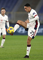 Football, Serie A: AS Roma - Cagliari calcio, Olympic stadium, Rome, December 23, 2020. <br /> Cagliari's Gabriele Zappa in action during the Italian Serie A football match between Roma and Cagliari at Rome's Olympic stadium, on December 23, 2020.  <br /> UPDATE IMAGES PRESS/Isabella Bonotto