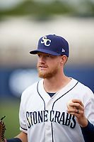Charlotte Stone Crabs first baseman Dalton Kelly (7) before a game against the Palm Beach Cardinals on April 11, 2017 at Charlotte Sports Park in Port Charlotte, Florida.  Palm Beach defeated Charlotte 12-6.  (Mike Janes/Four Seam Images)