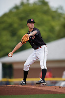 Batavia Muckdogs starting pitcher Jordan Holloway (9) delivers a pitch during a game against the Auburn Doubledays on September 1, 2018 at Dwyer Stadium in Batavia, New York.  Auburn defeated Batavia 10-5.  (Mike Janes/Four Seam Images)