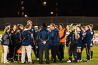 Sky Blue FC head coach Jim Gabarra talks with the team after the match. Sky Blue FC defeated the Western New York Flash 1-0 during a National Women's Soccer League (NWSL) match at Yurcak Field in Piscataway, NJ, on April 14, 2013.