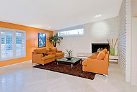 Living room of hip 60's Palm Springs modernism house