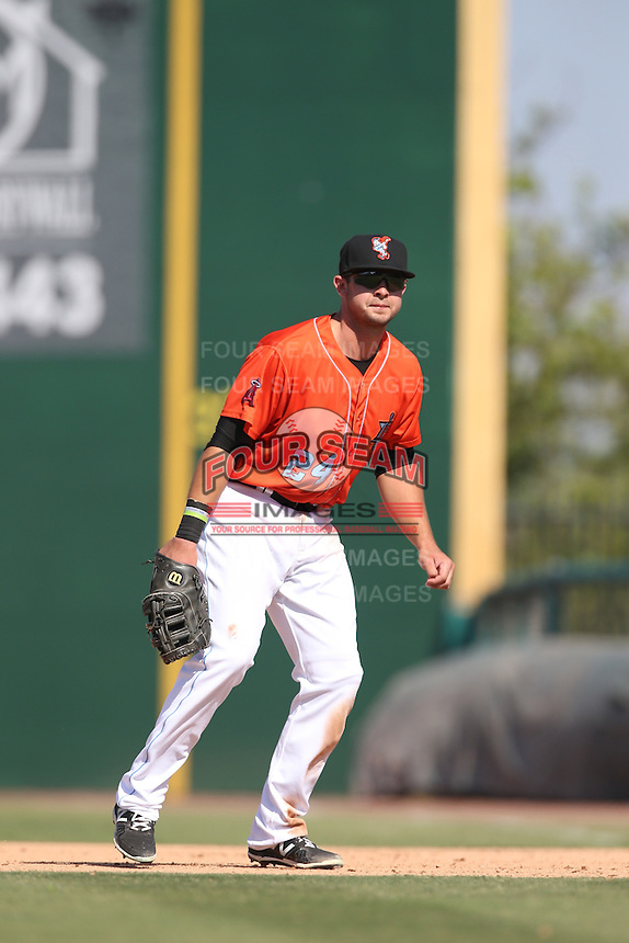 Eric Aguilera (24) of the Inland Empire 66ers in the field during a game against the Stockton Ports at The Hanger on April 11, 2015 in Lancaster, California. San Jose defeated Lancaster, 8-3. (Larry Goren/Four Seam Images)