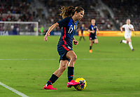 ORLANDO, FL - MARCH 05: Tobin Heath #17 of the United States dribbles during a game between England and USWNT at Exploria Stadium on March 05, 2020 in Orlando, Florida.