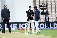 Kane Williamson of N ew Zealand and Virat Kohli shake hands following the toss during India vs New Zealand, ICC World Test Championship Final Cricket at The Hampshire Bowl on 19th June 2021