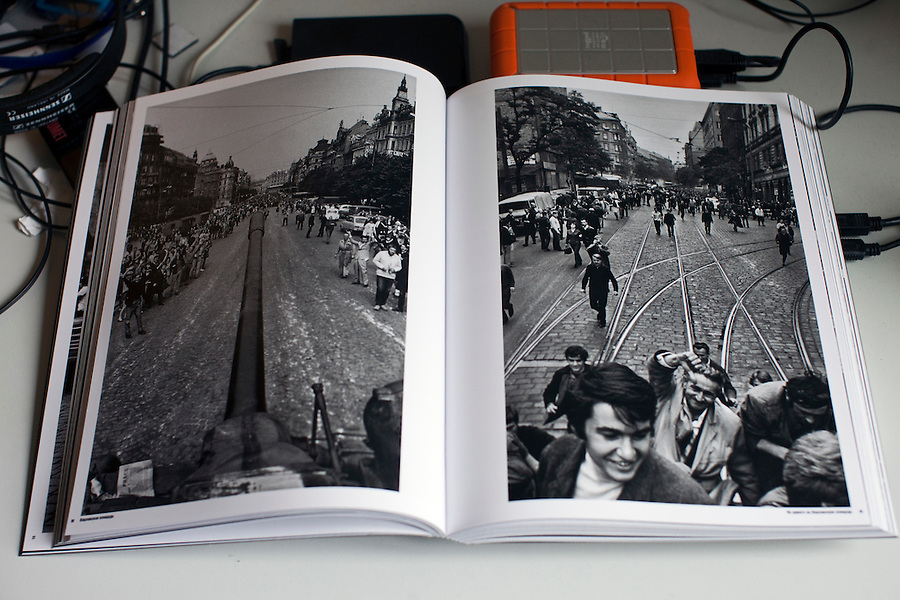 Moscow, Russia, 16/10/2011..The book of Prague Invasion 68, Josef Koudelka's first personal exhibition in Moscow, at the Lumiere Brothers Photography Centre. The pictures, shot during the Soviet invasion of 1968, were smuggled out of Czechoslovakia and at first only published anonymously by Magnum; Koudelka only became publicly known as the photographer some 16 years later.