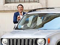 Il Presidente del Consiglio Matteo Renzi durante la presentazione della nuova autovettura Fiat Jeep Renegade, a Palazzo Chigi, Roma, 25 luglio 2014.<br /> Italian Premier Matteo Renzi attends the presentation of the new Fiat's Jeep Renegade model car, at Chigi Palace, Rome, 25 July 2014.<br /> UPDATE IMAGES PRESS/Riccardo De Luca