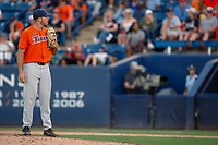 Cal State Fullerton Titans Brett Conine (18) looks to his catcher for the sign against the University of Washington Huskies at Goodwin Field on June 10, 2018 in Fullerton, California. The Huskies defeated the Titans 6-5. (Donn Parris/Four Seam Images)