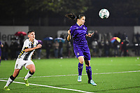 Anderlecht midfielder Stefania Vatafu (10) pictured with the ball in front of midfielder Julie Challe of Sporting Charleroi during a female soccer game between Sporting Charleroi and RSC Anderlecht on the third matchday of the 2020 - 2021 season of Belgian Scooore Womens Super League , friday 2 nd of October 2020  in Marcinelle , Belgium . PHOTO SPORTPIX.BE | SPP | DAVID CATRY