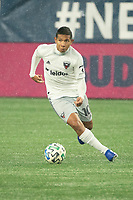 FOXBOROUGH, MA - NOVEMBER 1: Edison Flores #10 of DC United during a game between D.C. United and New England Revolution at Gillette Stadium on November 1, 2020 in Foxborough, Massachusetts.