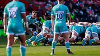 17th April 2021; Twickenham Stoop, London, England; English Premiership Rugby, Harlequins versus Worcester Warriors; Hougaard of Worcester warriors swinging the ball wide from the rear of the scrum