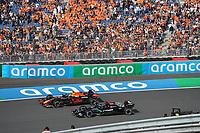 3rd September 2021: Circuit Zandvoort, Zandvoort, Netherlands;    Max Verstappen NEL 33, Red Bull Racing Honda, Lewis Hamilton GBR 44, Mercedes-AMG Petronas Formula One Team FORMULA 1 HEINEKEN DUTCH GRAND PRIX 2021