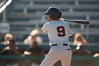 San Jose Giants shortstop Brandon Van Horn (9) at bat during a California League game against the Modesto Nuts at John Thurman Field on May 9, 2018 in Modesto, California. San Jose defeated Modesto 9-5. (Zachary Lucy/Four Seam Images)