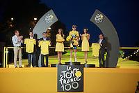yellow Tour history (16 TdF wins on 1 podium): Miguel Indurain (ESP), Eddy Merckx (BEL), Chris Froome (GBR) & Bernard Hinault (FRA)<br /> <br /> Tour de France 2013<br /> (final) stage 21: Versailles - Paris Champs-Elysées<br /> 133,5km