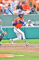Clemson Tigers designated hitter Kier Meredith (1) swings at a pitch during a game against the North Carolina Tar Heels at Doug Kingsmore Stadium on March 9, 2019 in Clemson, South Carolina. The Tigers defeated the Tar Heels 3-2 in game one of a double header. (Tony Farlow/Four Seam Images)
