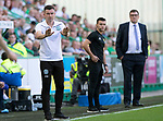 Hibs v St Johnstone….24.08.19      Easter Road     SPFL <br />Paul Heckingbottom tries to settle his players<br />Picture by Graeme Hart. <br />Copyright Perthshire Picture Agency<br />Tel: 01738 623350  Mobile: 07990 594431
