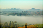 Morning fog and mist in the Smoky Mountains, seen from the Biltmore Inn in Asheville, North Carolina