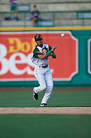 Fort Wayne TinCaps second baseman Tucupita Marcano (15) throws to first base during a Midwest League game against the Peoria Chiefs on July 17, 2019 at Parkview Field in Fort Wayne, Indiana.  Fort Wayne defeated Peoria 6-2.  (Mike Janes/Four Seam Images)