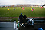 Pickering fans watch their team attack in front of the Jamie Vardy Stand. Stocksbridge Park Steels v Pickering Town,  Evo-Stik East Division, 17th November 2018. Stocksbridge Park Steels were born from the works team of the local British Steel plant that dominates the town north of Sheffield.<br /> Having missed out on promotion via the play offs in the previous season, Stocksbridge were hovering above the relegation zone in Northern Premier League Division One East, as they lost 0-2 to Pickering Town. Stocksbridge finished the season in 13th place.