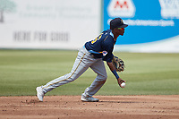 Myrtle Beach Pelicans shortstop Yeison Santana (16) flips the ball towards second base during the game against the Lynchburg Hillcats at Bank of the James Stadium on May 23, 2021 in Lynchburg, Virginia. (Brian Westerholt/Four Seam Images)