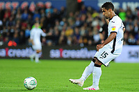 Wayne Routledge of Swansea City in action during the Carabao Cup Second Round match between Swansea City and Cambridge United at the Liberty Stadium in Swansea, Wales, UK. Wednesday 28, August 2019.