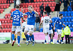 St Johnstone v Hamilton Accies…26.10.19   McDiarmid Park   SPFL<br />Callum Hendry celebrates with Liam Craig at full time<br />Picture by Graeme Hart.<br />Copyright Perthshire Picture Agency<br />Tel: 01738 623350  Mobile: 07990 594431